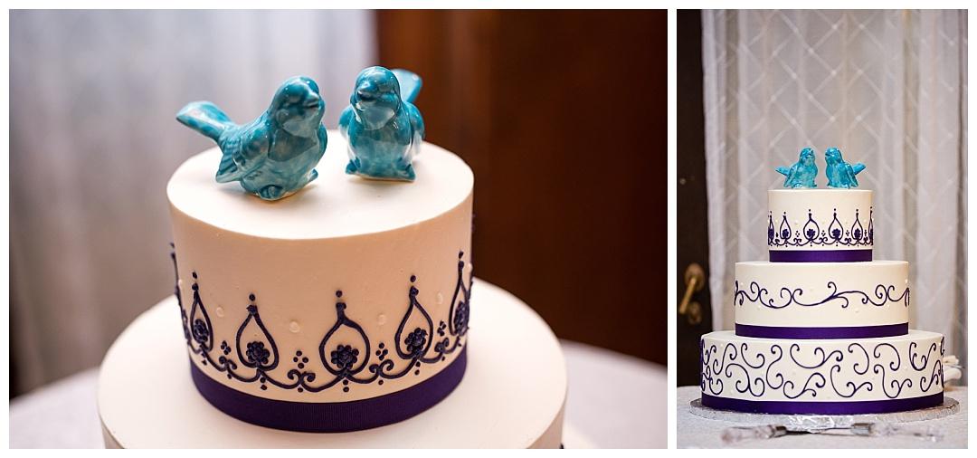 blue birds wedding cake