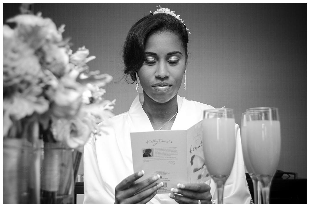 Cylburn Arboretum wedding bride reading love note