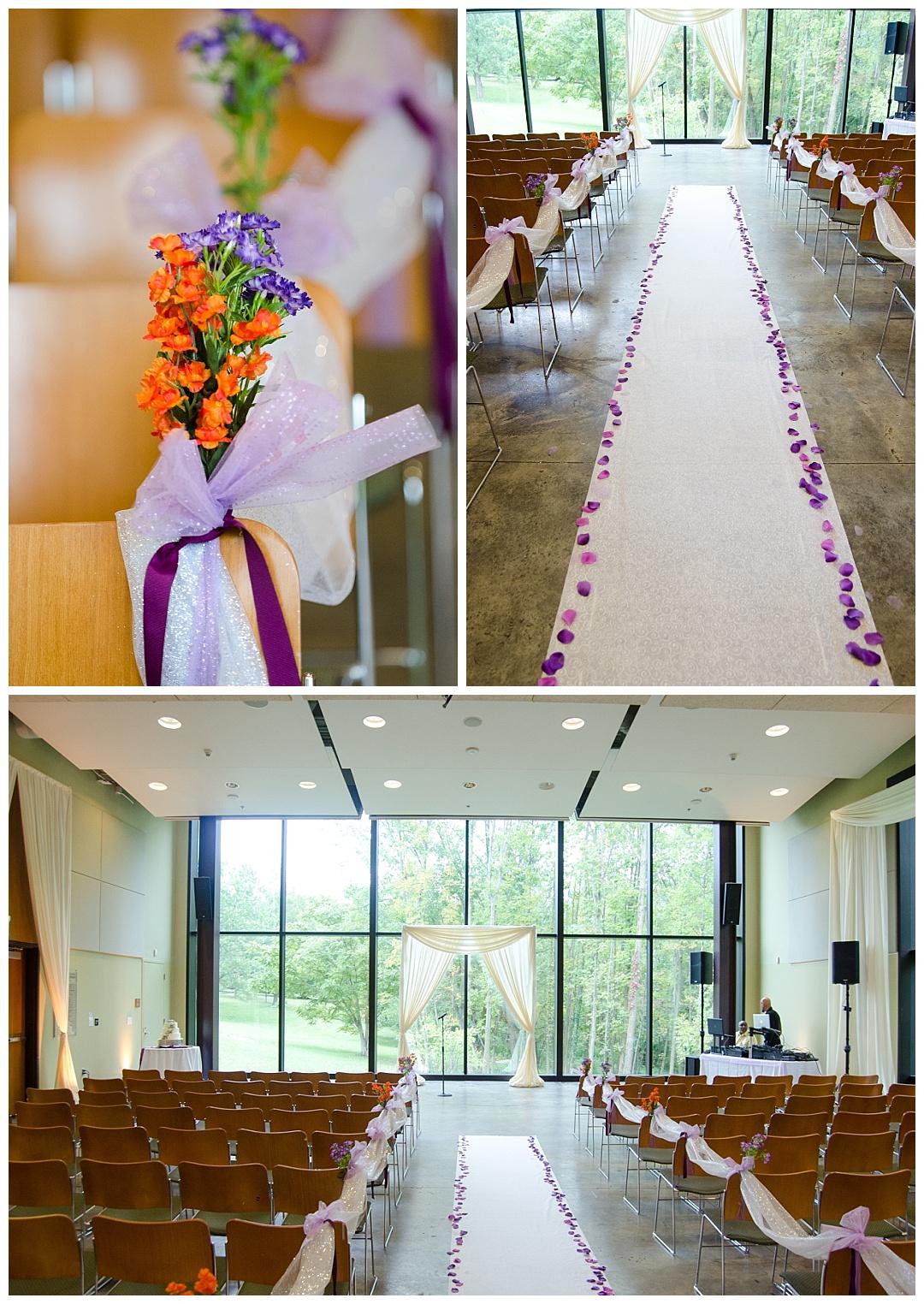 Cylburn Arboretum wedding ceremony purple colorful decorations