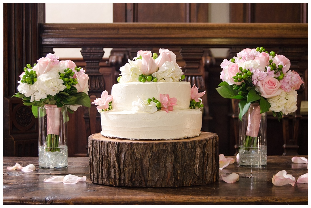 white pink rustic wedding cake