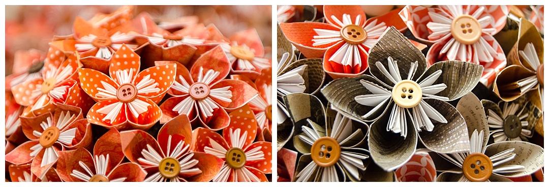 orange paper flower rustic wedding bouquet