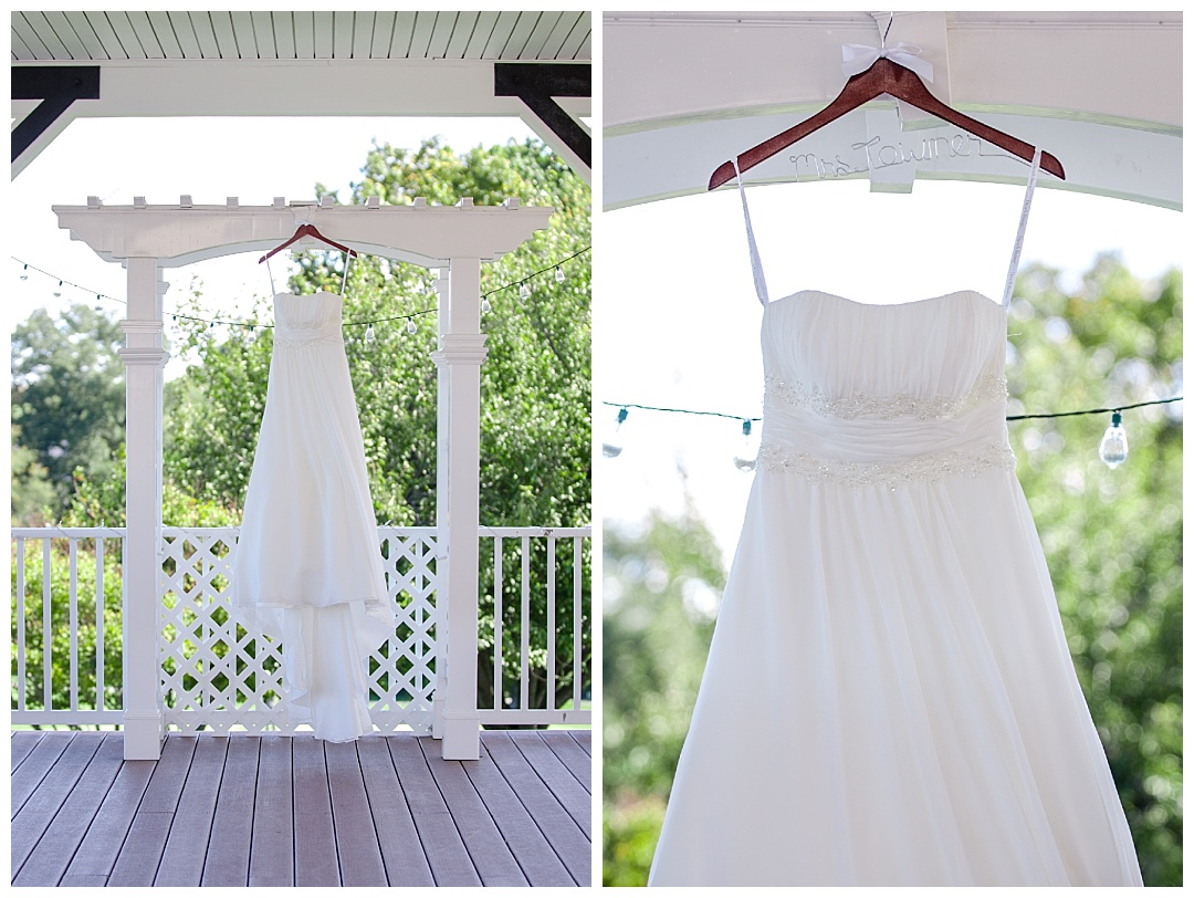 Piney Branch Golf Club hanging wedding dress details