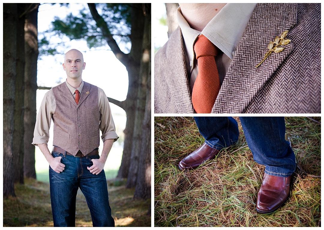 Piney Branch Golf Club groom blue jeans orange tie