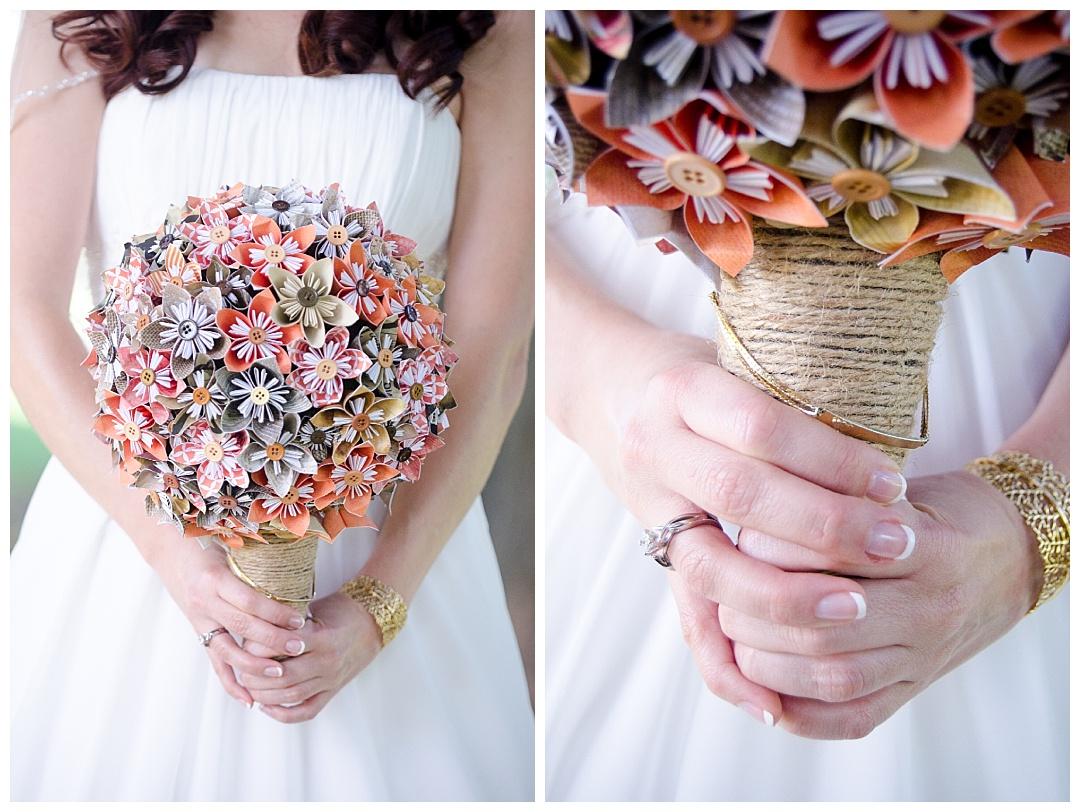 bride with orange paper flower bouquet