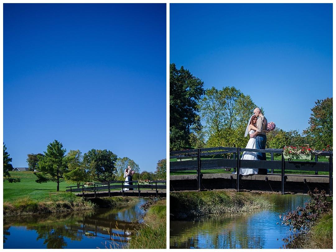 Piney Branch Golf Club wedding bride and groom on bridge