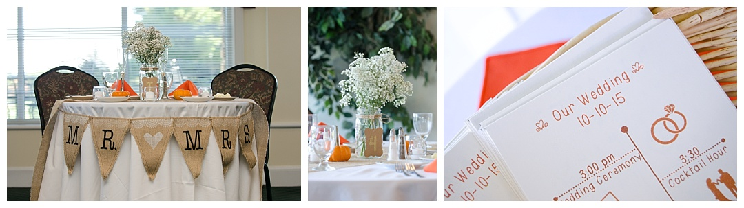 Piney Branch Golf Club wedding reception details rustic fall