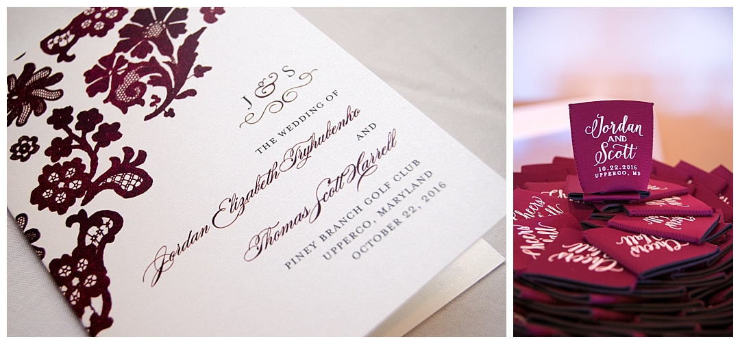 maroon wedding invitations and party favors