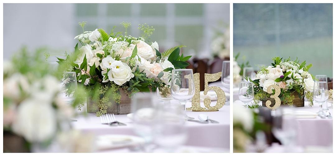wedding table decorations Glen Ellen Farm